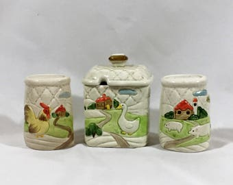 Otagiri Ceramic Salt & Pepper Shaker and Sugar Bowl set with lid Marked 1982, Hand Painted