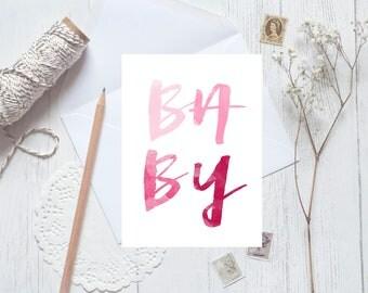 Baby Card, baby girl card, baby pink card, baby gender reveal card, baby shower card, pink card, girl card, baby shower invite