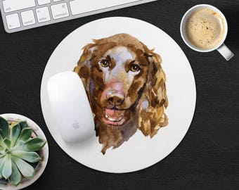 American Water Spaniel Mouse Pad Dog Mouse Mat Fabric MousePad Rectangular MouseMat Round MousePad MouseMat Accessories Office Supplies