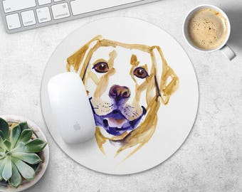 Labrador Retriever Mouse Pad Dog Mouse Mat Fabric MousePad Round MouseMat Her Gift Watercolor MousePad Cute Mouse Mat Desk Dog Lover Gift