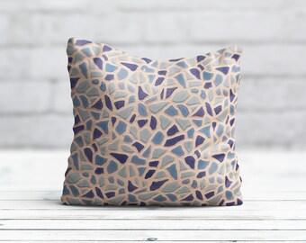 Blue PillowCase Tile Throw Pillow Cover Accent Pillow Geometric Pillow Decorative Silk Pillow Cover Cushion Satin Pillow Toss Home Decor