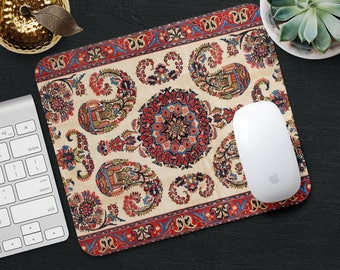 Persian Carpet Mouse Pad Red Rug Mouse Mat Geometric Mouse Pad Desk Accessories Mouse Pad Floral Mouse Mat Persian Rug MousePad Office Gift