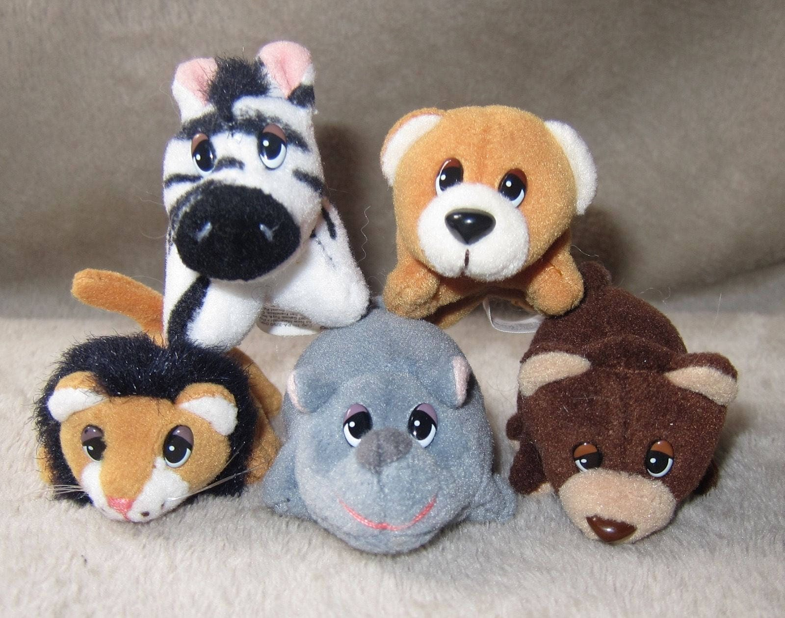 Pound Puppies POUND JUNGLE Minis Lot of 5 HTF Lion Bear Cubs