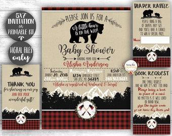 Lumberjack Baby Shower Invitation Printable Kit - Buffalo Plaid Invite - Wilderness Bear Invitation - Rustic Baby Boy Shower Invite 5x7''