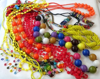 Vintage beaded necklace lot, vintage necklace lot, 80's necklace lot, colorful vintage necklaces, vintage jewelry lot, 70's necklaces