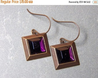 On Sale Purple Velvet Swarovski Crystal and Brass Dangle Earrings with Fish Hooks