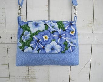 Handbag, Cross body, Purse, Blue Petunia Fabric, Handmade, Shoulder Bag, Mini Messenger Bag, Women Girls Accessories