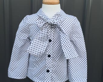 Polka dot bow long sleeve vintage style girl blouse
