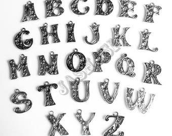 A-Z Full Alphabet Tibetan Silver Charms (005)