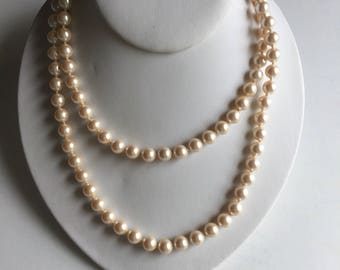 Vintage Pearl Necklace Beige Gold Clasp Signed MONET