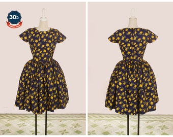 """SAMPLE SALE! Dorothy Dress  """"Midnight Garden"""" Floral Yellow Roses on Navy Blue - Rose Print"""