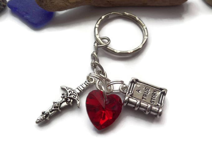 Once Upon a Time themed charm keyring, once time keychain, once time gift, fandom gift, storybook gift, regina heart gift, rumple dagger
