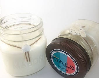 Coconut 8oz Mason Jar Soy Wax Organic Candle