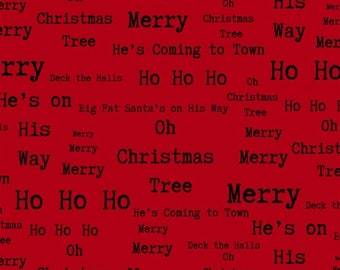 Around Town Christmas Red Words from Studio E by the yard