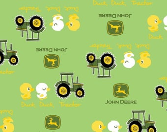John Deere Green Tractor and Duck fabric by the yard