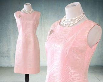 1960s Sleeveless Cocktail Dress Pink Silk Brocade