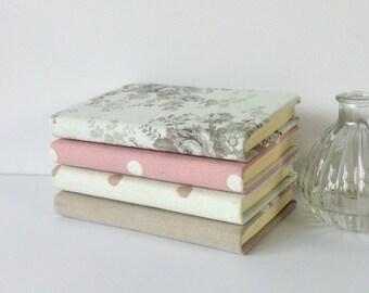 A6 Hardback Notebooks - Floral Fabric Covered - Polka dot - Journal - Stationery -Teacher Gift