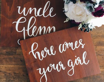 Flowergirl Sign Page Boy Sign Ring Bearer Ceremony Sign Wedding Decor Wooden Wedding Sign Calligraphy Sign Rustic Wedding Decor