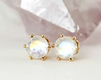 Natural Blue Rainbow Moonstone Stud Earrings, Pair 4mm 5mm or 6mm in 14k Gold Filled or Sterling Silver Studs,June Birthstone,Gemstone studs