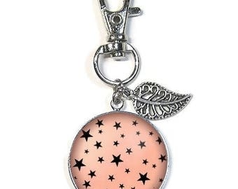 Bag charm or key ring with cabochon 25 mm * Star * (070617)