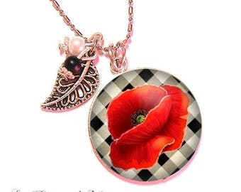 With its 25 mm cabochon beads necklace * poppy * (040617)