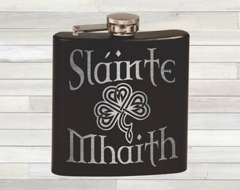 Irish Flask. Slainte Mhaith. Gaelic Toast. To Your Health. Celtic Knot. St Patricks Day. Paddys Day. Irish Gift.