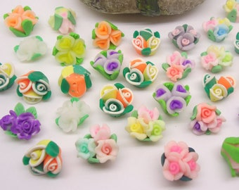 set of 5 beads fimo flower mini bouquet