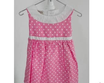 SALE Baby girl summer dress in pink polka dots