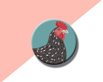 Cute Chicken Pin Badge, Chicken Gifts, Quirky Button Pin, Team Luna Pin, Lucky Chicken Badge, Farm House Gifts, Bird Badges, Cute Pin