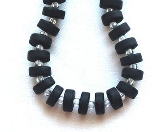 36 jet black faux sea glass heishi, spacer beads, 9mm opaque frosted. satin, matte glass beads C0701