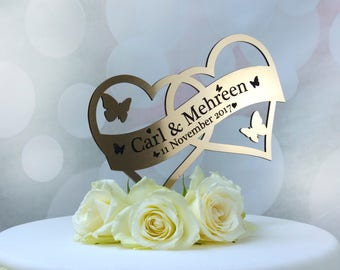 Wedding Cake Topper Heart Cake Decoration. Gold,Silver,Mirror,Clear,Blue,Pink Personalised Topper also for Engagement or Anniversary.
