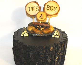 It's A Boy Cake topper Camping campfire  Baby shower Decor - Gender reveal announcement ~ New camper,  Woodland Woodsie Party  ~ USA made