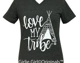 Girlie Girl Originals Love My Tribe V-Neck Dark Heather Grey Short Sleeve T-Shirt