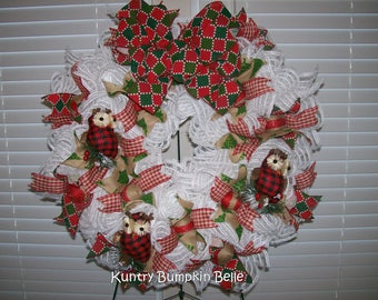 Country Christmas Wreath, Owl Wreath, Holiday Wreath, Christmas Cabin Wreath, deco mesh wreath, gingham wreath, Christmas Owl, Holiday door