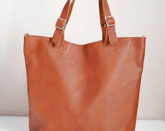 Huge Elegant Leather Bag Urban Style Tote Brown Color, Brown Leather Tote, Italian Leather Huge Bag, Crossbody Genuine Leather Bag
