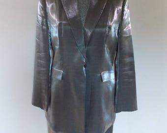 summer sale Vintage skirt suit special occasion silver skirt suit by Kasper ASL Skirt Jacket suit top size large