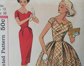 Simplicity 2578 junior misses dress with two skirts size 13 bust 33 vintage 1950's sewing pattern