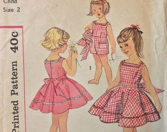 Simplicity 3031 girls playsuit and skirt size 2 vintage 1950's sewing pattern  Uncut  Factory folds