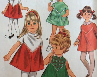McCall's 2219 girls dress w/detachable collar & cuffs size 4 vintage 1960's sewing pattern