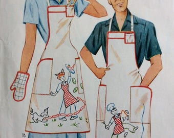McCall 1597 Mr. and Mrs. aprons, hats and mitts vintage 1950's sewing pattern