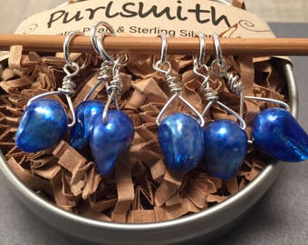 Azure Blue Baroque Freshwater Pearl & Sterling Silver Stitch Markers for Knitting,Set of 6,Knitting Notions, Gift for Knit