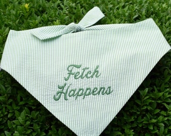 Fetch Happens! Green Seersucker Bandana || Preppy Dog Scarf Tone on Tone || Puppy Gift by Three Spoiled Dogs