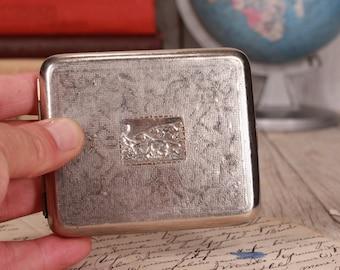 Vintage silver tone metal cigarette case - WW2 cigarette case - Cigarette holder - 1940's silver tone cigarette holder Horse cigarette case