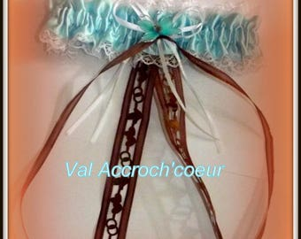 Blue and Brown garter with butterfly Ribbon Dove