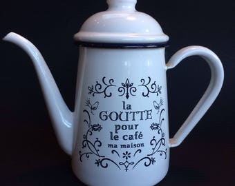 Charming Cottage Shabby Chic Vintage French Enameled Coffee Pot