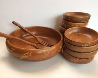 Mid Century Baribocraft Salad Bowl & 10 Serving Bowls Wood Wooden