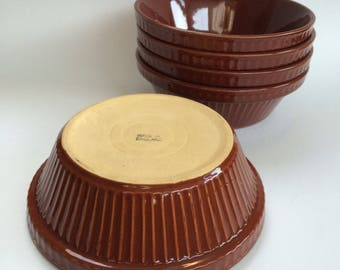 Pyrita Ware Pottery Antique Serving Bowl Casserole Rich Brown Historic Pieces 6 1/2""