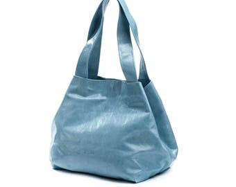 blue tote bag - blue leather bag - blue leather purse - blue tote purse - blue purse - blue bag - leather tote bag - something blue - CLPBL