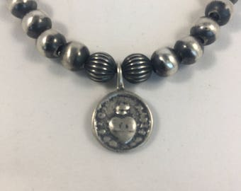 Southwestern Bracelet Navajo Pearl Bracelet Sacred Heart Bracelet ALS Bracelet Sterling Silver Bracelet Silver Bead Stretch Bracelet