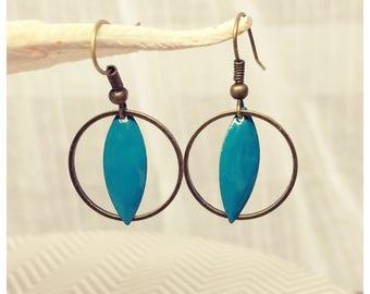 Bronze circle enameled earrings n2